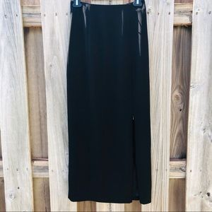 Cache Side Slit Maxi Skirt Size 0 Black Polyester